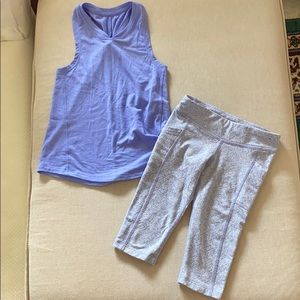 Girls purple exercise outfit.